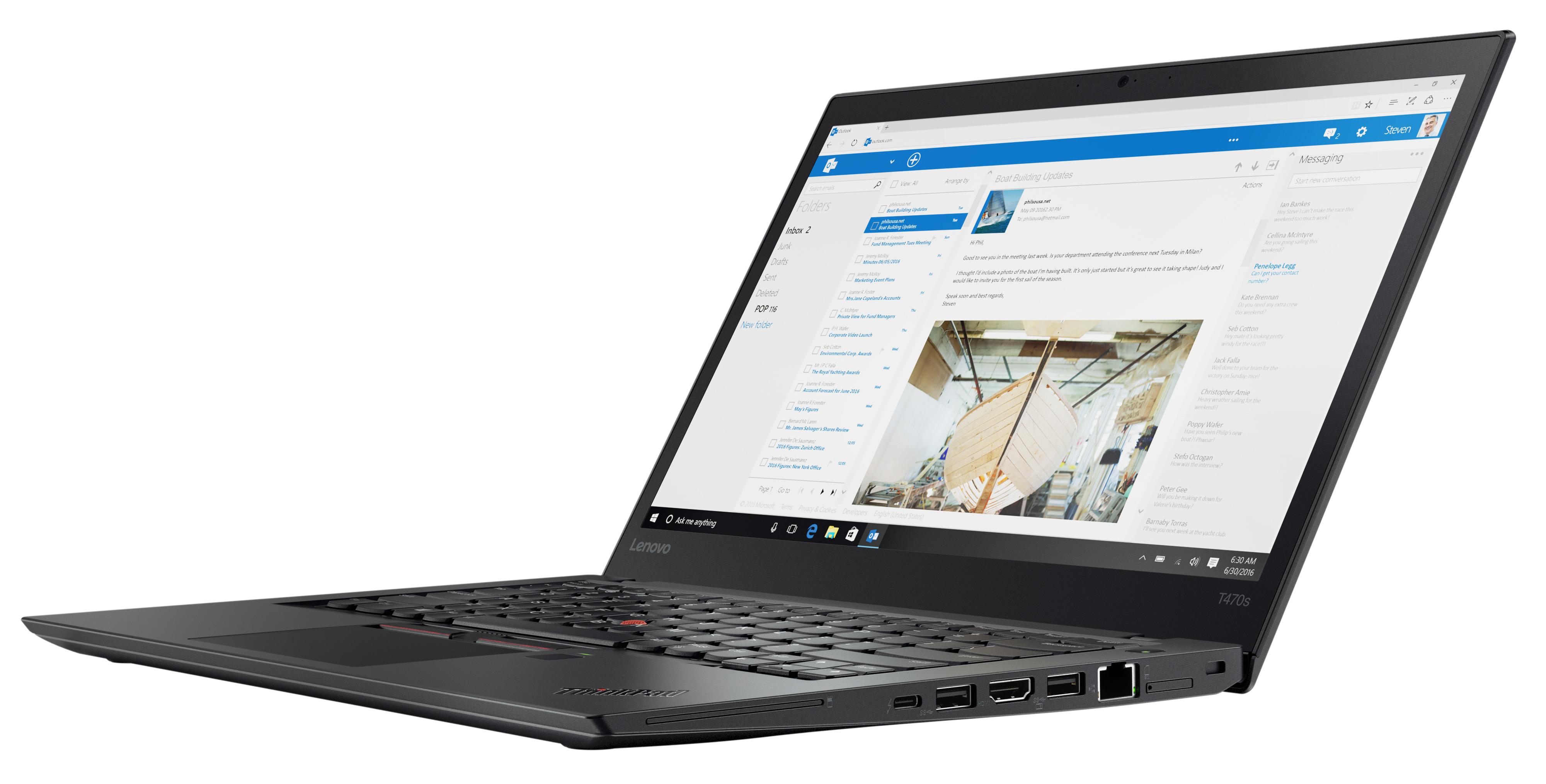 Фото  Ноутбук ThinkPad T470s (20HF004RRT)