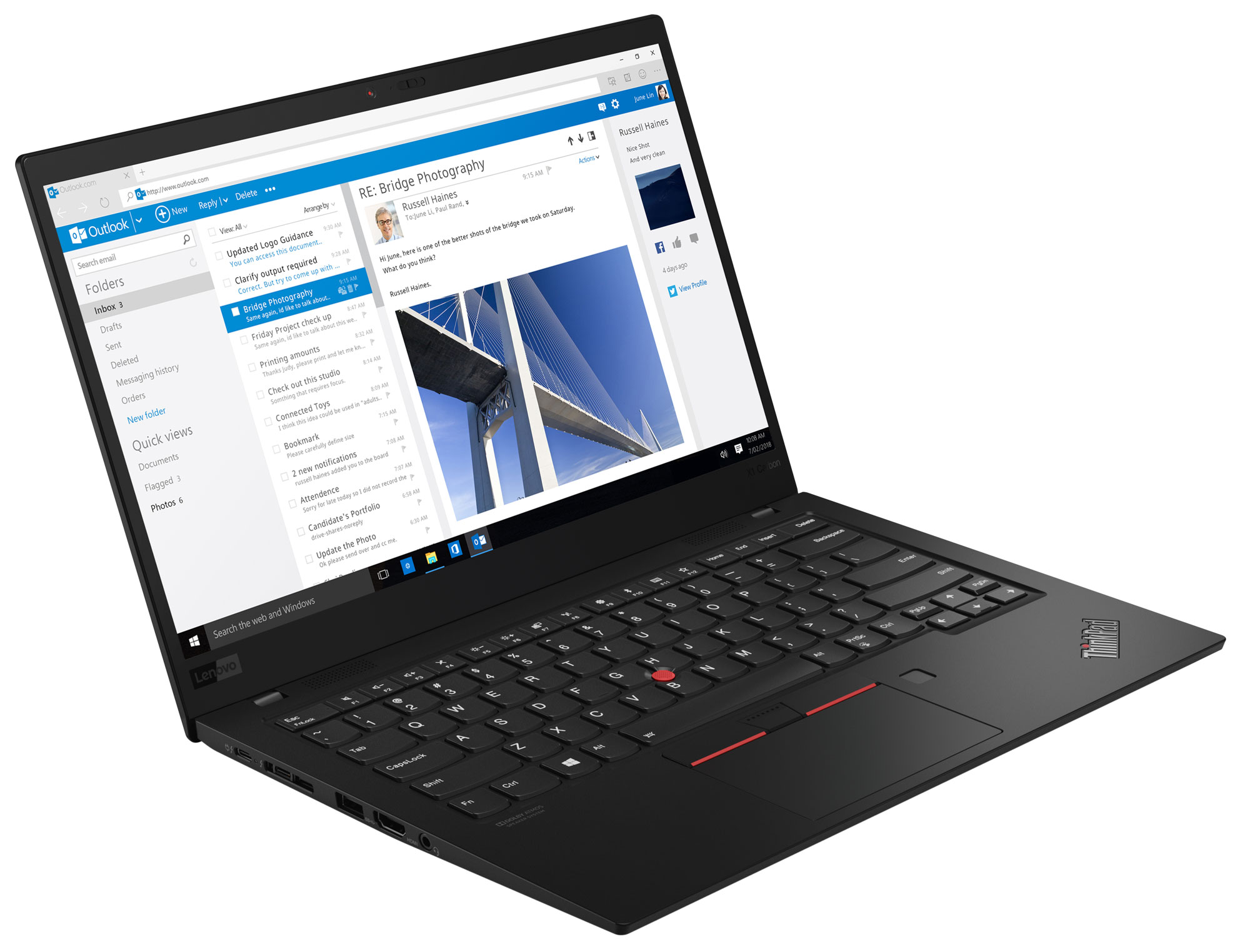 Фото  Ультрабук ThinkPad X1 Carbon 7th Gen (20QD003CRT)